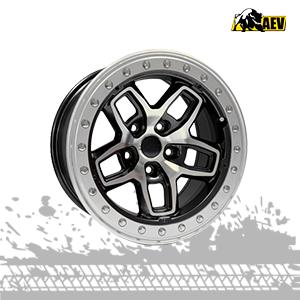 aev borah dualsport machined onyx mag wheels for jeep wrangler jk